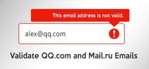 How to validate QQ.com, Mail.ru and t-online.de emails?